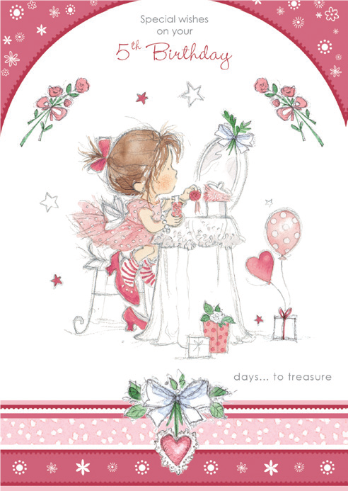 Girl tea party- 5th age girl birthday card. Retail $2.99. Unit Quantity 6. Inside: Wishes warm and true are sent to bring a day of fun and happiness to you! Happy 5th Birthday.