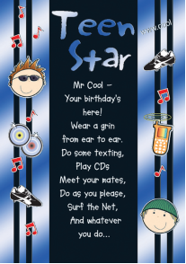 Blue teen star- Kid Birthday card. Retail $3.49. Unit Quantity 6. Inside: ...have a really great time the whole day through. Happy Birthday.