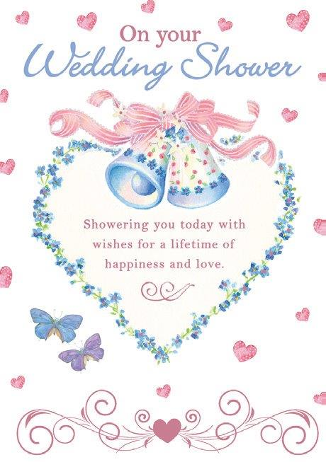 Wedding bells wedding shower themed greeting card from the Blush Collection by Carol Wilson Fine arts. Inside: ..Congratulations! Unit pack of 6 cards. Retail: $4.49