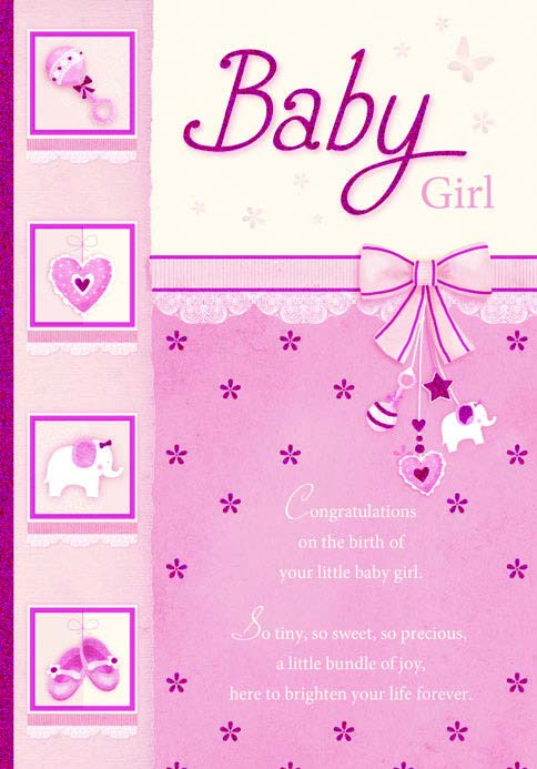 BABY GIRL ICONS - PINK GLITTER Retail: $2.99 Unit pack 6 Inside: May you cherish every smile...