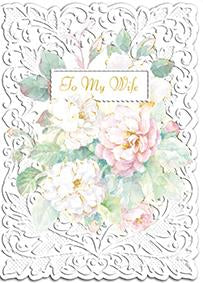 Roses for my wife embossed die cut anniversary greeting card from Carol Wilson Fine Arts Inside: I love you more than words can say Retail: $4.25 Unit pack 6