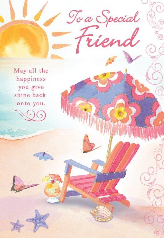 Beach themed Special Friend female birthday  greeting card. Inside: Here's wishing you all the special things in life that bring you joy.. Unit pack of 6 cards. Retail $3.99