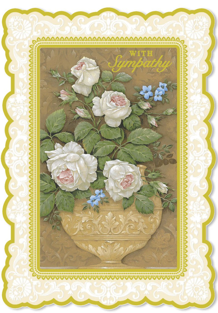 Urn of white roses embossed die-cut sympathy greeting card from Carol Wilson Fine Arts. Inside: With sympathy. There are no easy words to express sympathy.... Retail: $4.99. Unit pack of 6
