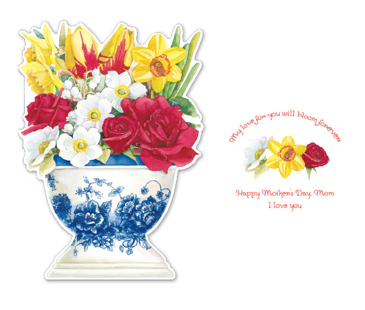 BLUE WHITE VASE WITH SPRING FLORAL BOUQUET MOTHER'S DAY embossed greeting card. Retail: $4.25