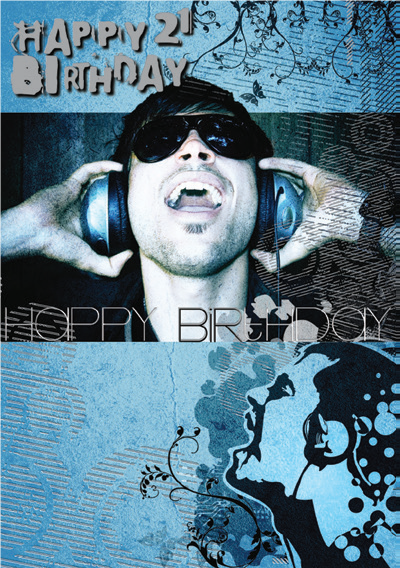 DJ- 21st age male birthday card. Retail $3.49. Unit Quantity 6. Inside: Have a great celebration, happy birthday