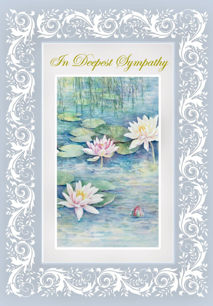 White water lillies with a blue border embossed die-cut sympathy greeting card from Carol Wilson Fine Arts. Inside: Thinking of you with love and wishing you peace and comfort. Retail: $4.25. Unit pack of 6