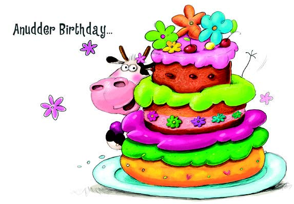 Cow with cake- Kid Birthday card. Retail $2.59. Unit Quantity 6. Inside: Time to go crazy! Happy birthday.