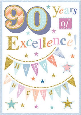 Colorful- 90th age general birthday card. Retail $3.49. Unit Quantity 6. Inside: A lifetime of memories to treasure and share...