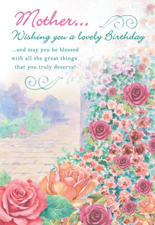 Rose pathway themed Mother birthday greeting card. Inside:  Dear Mother, here's to birthday memories you will hold close to your hear.t. Unit pack of 6 cards. Retail $3.99