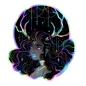 Holographic Galaxy Girl Sticker