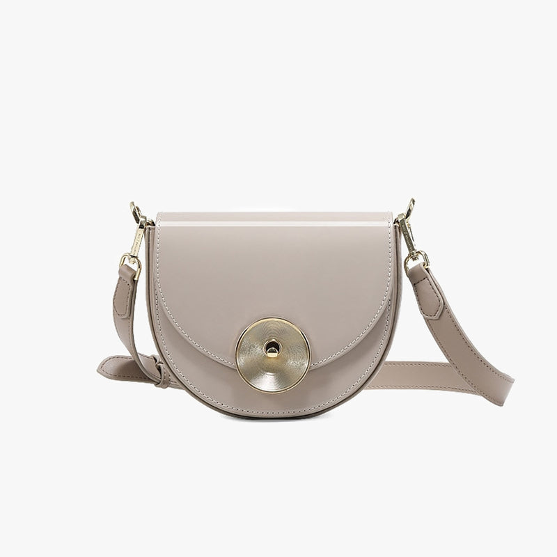 Gloss Finish Saddle Shoulder Bag