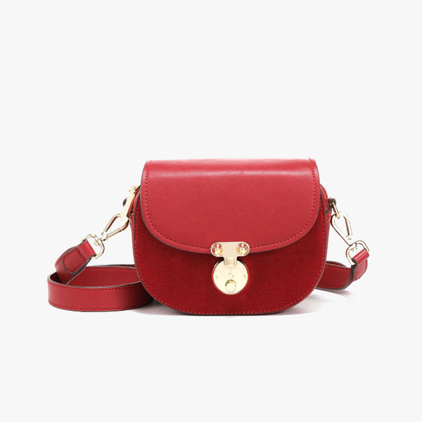 Suede Mini Round Crossbody Bag