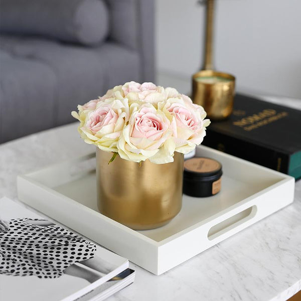 Champagne Pink Rose in Metal Gold Vase