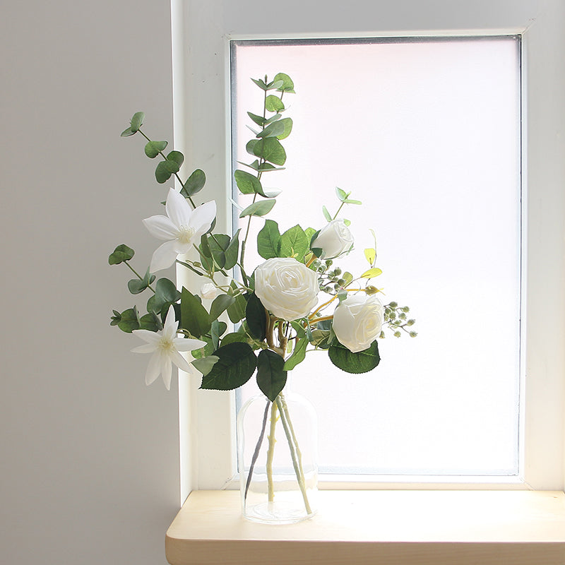 "White Rose Clematis and Greenery in Glass Vase 22"" Tall"