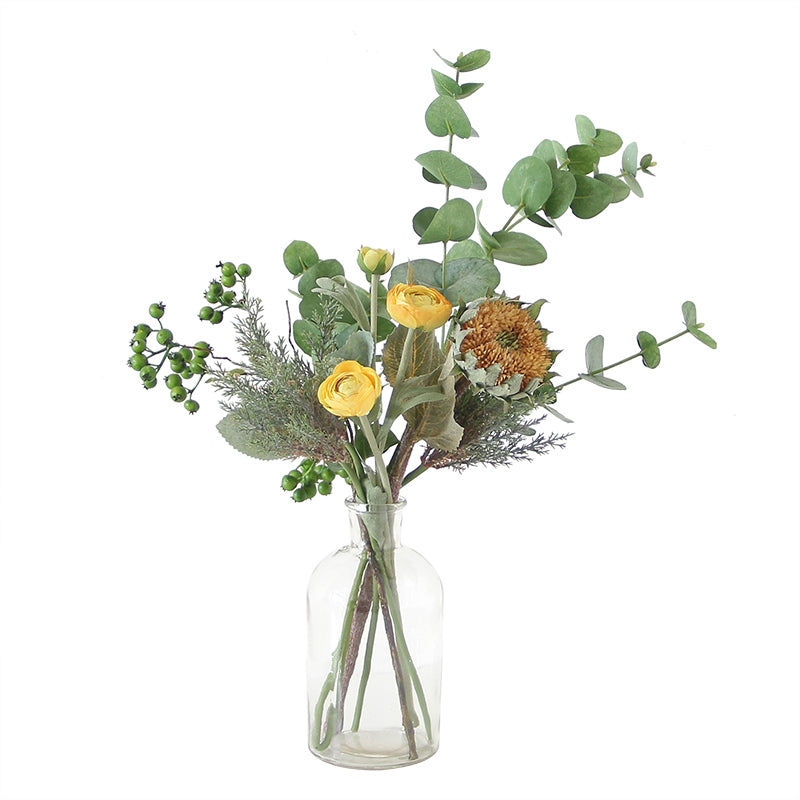 "Sunflower Buttercup and Greenery in Glass Vase 22"" Tall"