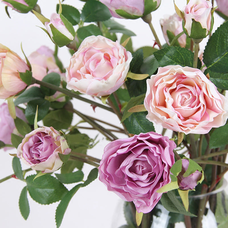 "Silk Rose Bloom Stem in Light Pink and Purple 26"" Tall"