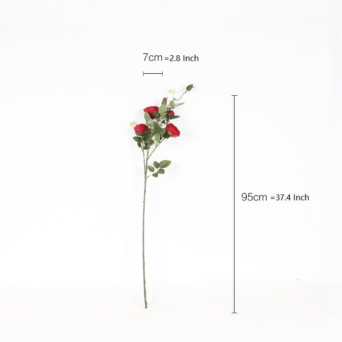 "Silk Rose Bloom Stem in Red 37"" Tall"