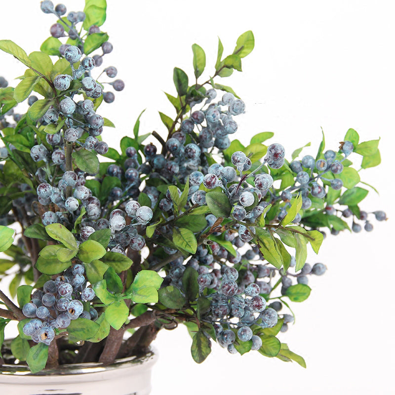 "Artificial Berry Stem in Blue 18"" Tall"