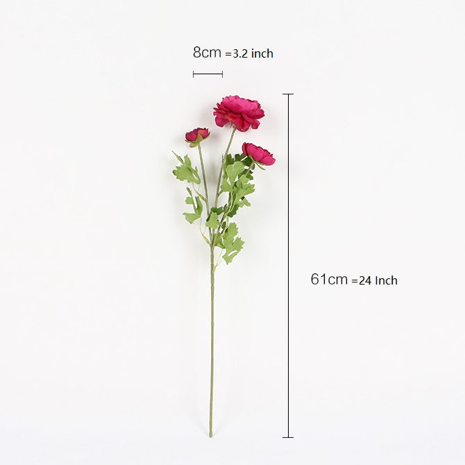 "Silk Buttercup Stem in Light Pink and Rose Pink 24"" Tall"
