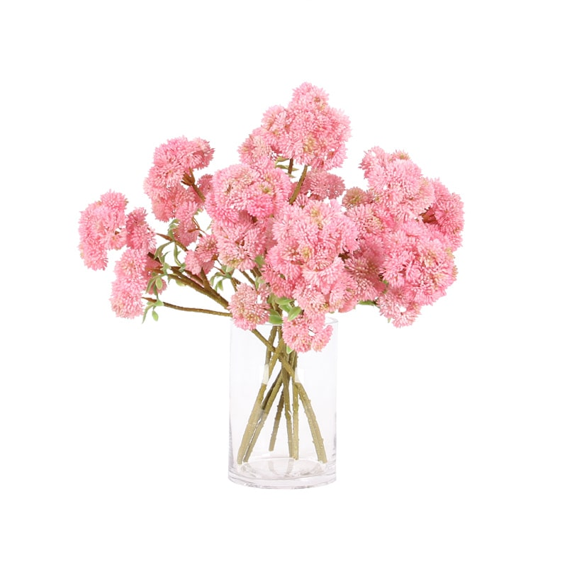 "Artificial Irish Cauliflower Stem in Pink 13"" Tall"