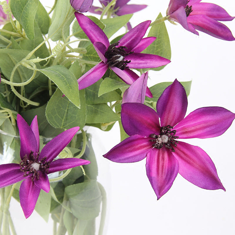 "Silk Clematis Stem in Rose Purple 27"" Tall"
