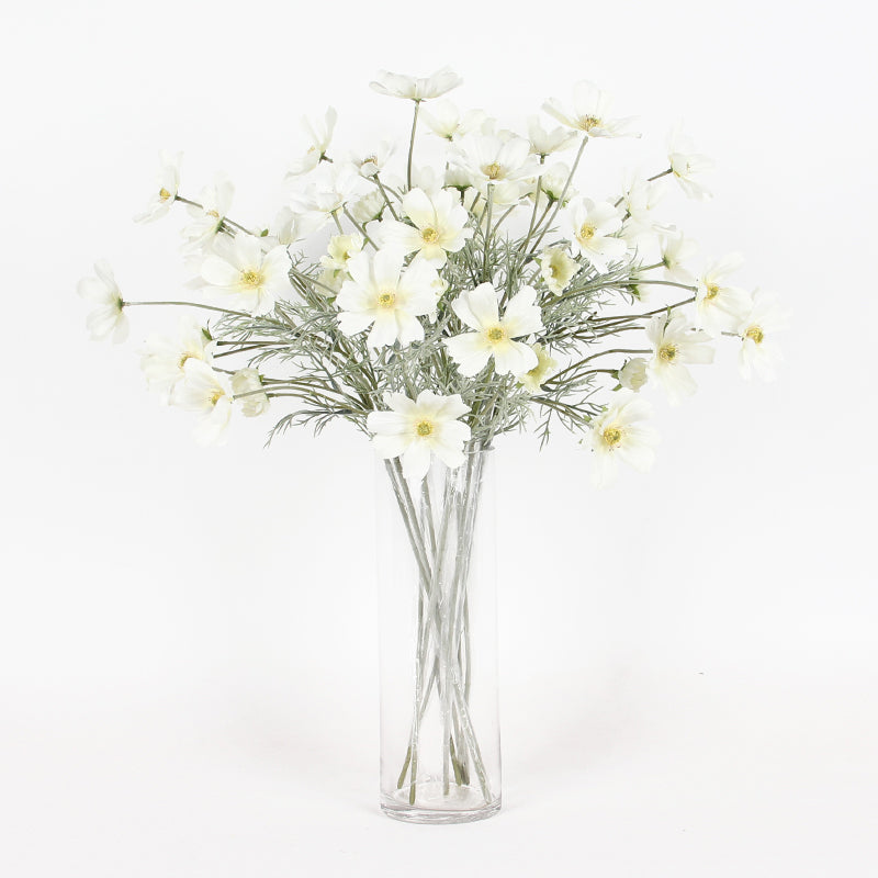 "Silk Cosmos Stem in White 24"" Tall"