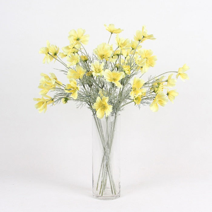"Silk Cosmos Stem in Yellow 24"" Tall"