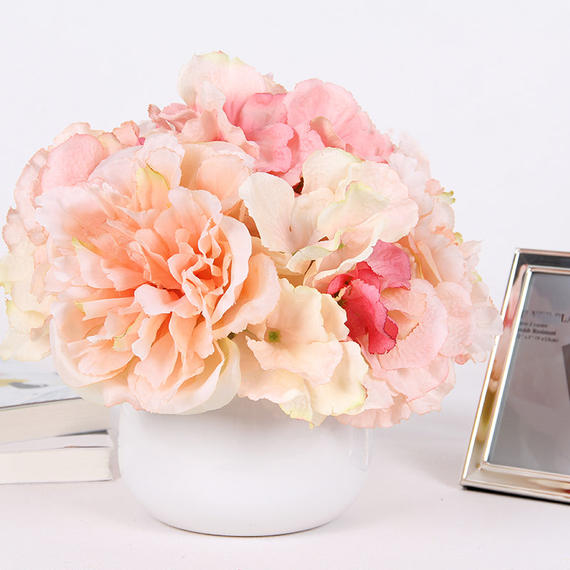 "Light Orange Pink Hydrangea Peony Mixed Arrangement 9"" Tall"