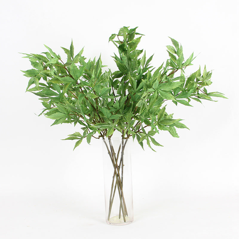 "Artificial Green Maple Leaf Stem 29"" Tall"