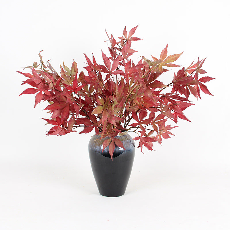 "Artificial Red Maple Leaf Stem 29"" Tall"