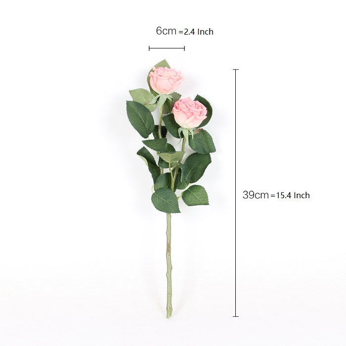 "Real Touch Rose Bloom Short Stem in Light Pink 15"" Tall"