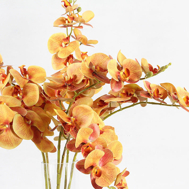 "Real Touch Butterfly Orchid Stem in Orange Yellow 37"" Tall"