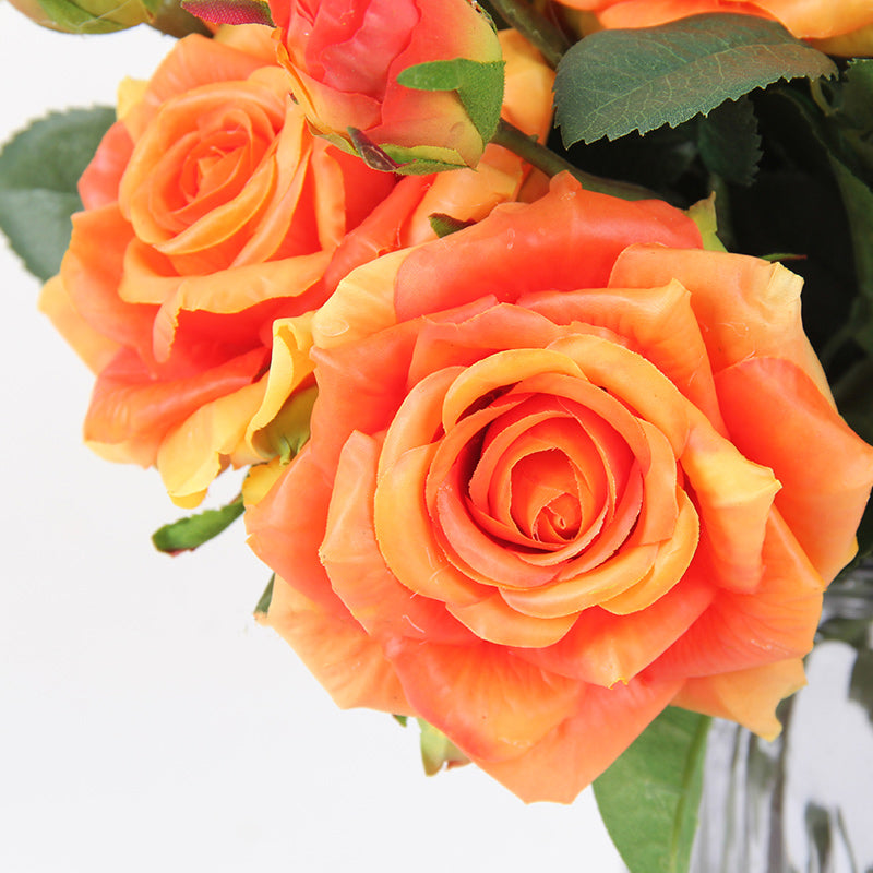 "Real Touch Rose Bloom Stem in Orange 19"" Tall"