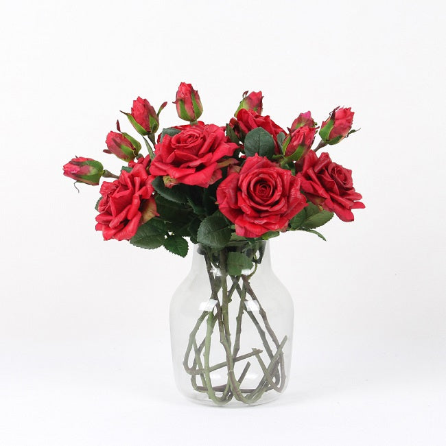 "Real Touch Rose Bloom Stem in Red 19"" Tall"