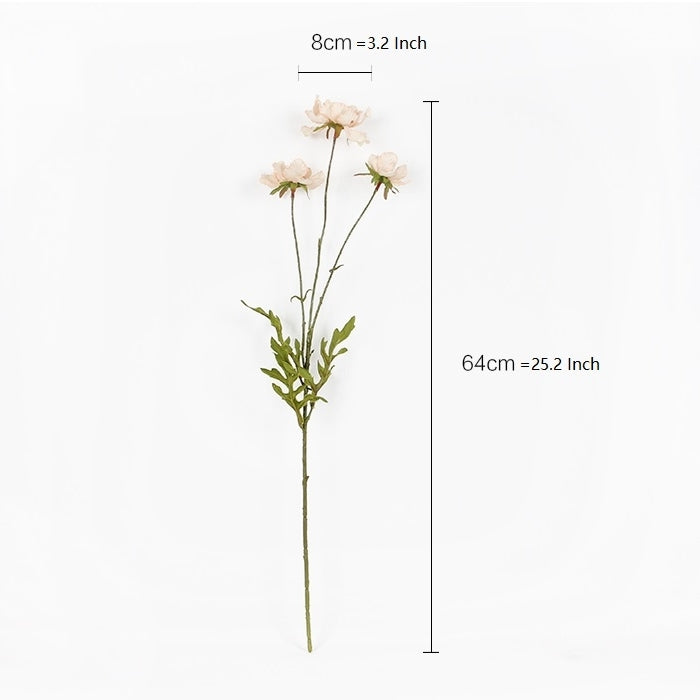 "Silk Cosmos Serrated Petal in Light Beige 25"" Tall"