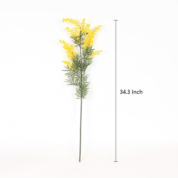"Artificial Yellow Felt Ball Plant Stem 34"" Tall"