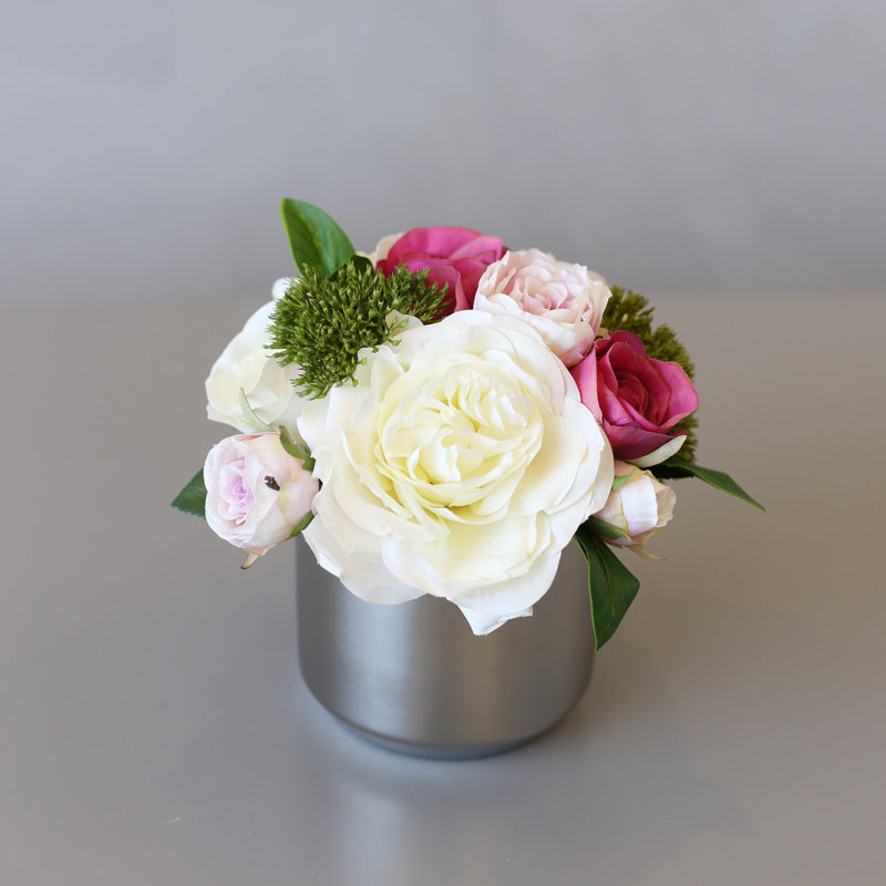 "White Pink Roses Floral Arrangement in Silver Metal Vase 8"" Tall"