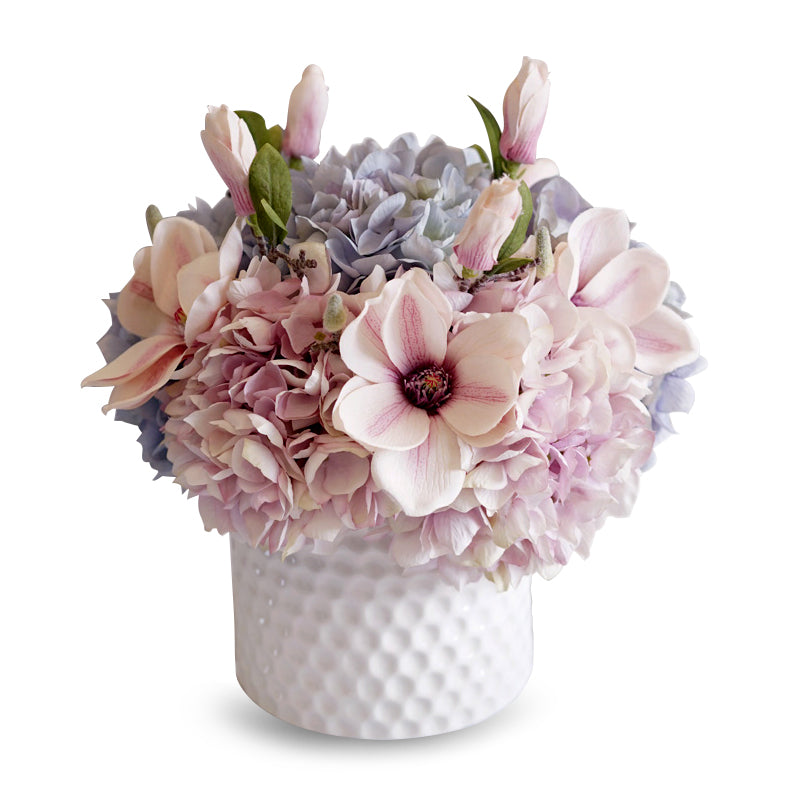 "Pink Blue Hydrangeas Magnolia Floral Arrangement in Ceramic Vase 15"" Tall"