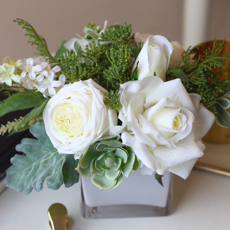 "White Rose Greenery Floral Centerpiece in Glass Vase 8"" Tall"