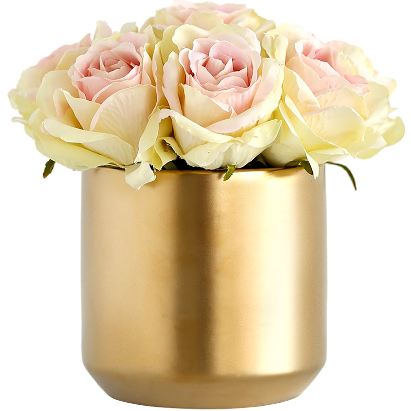 "Champagne Pink Rose in Metal Gold Vase 7"" Tall"