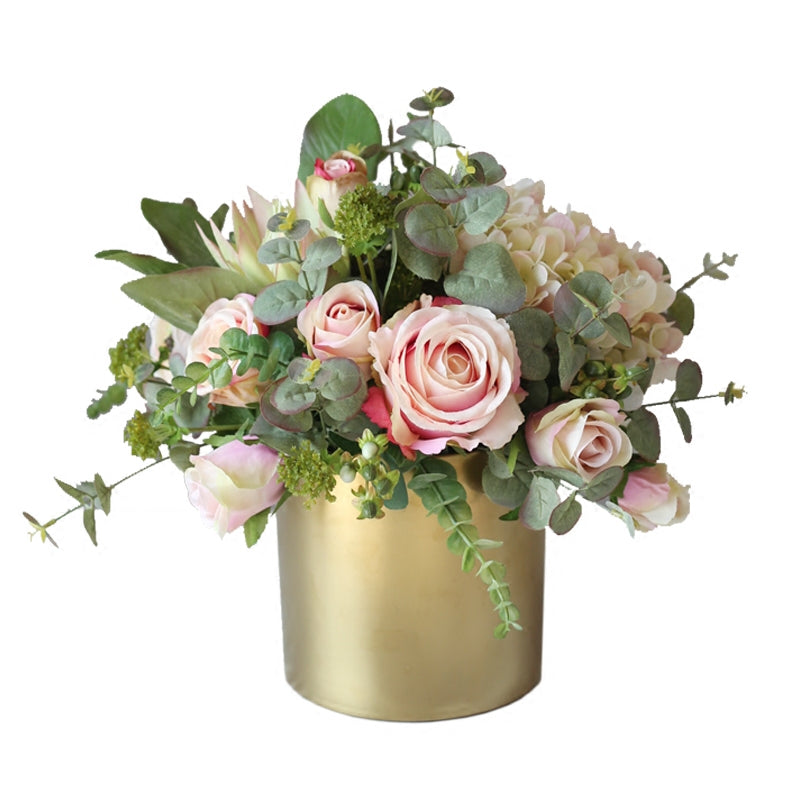 "Light Pink Rose Hydrangea Mixed Greenery in Metal Gold Vase 14"" Tall"