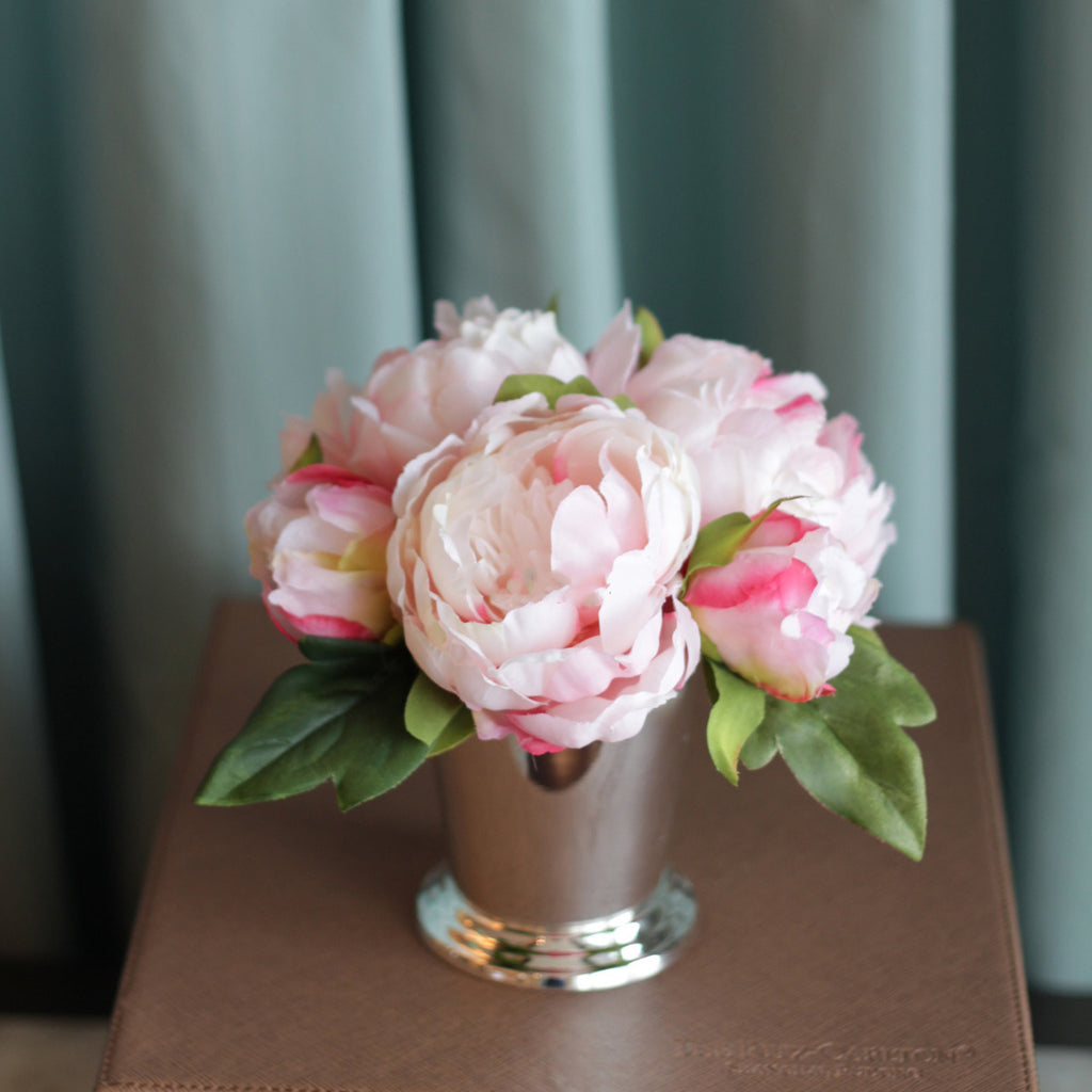 "Pink Silk Peony in Silver Metal Vase 5"" Tall"