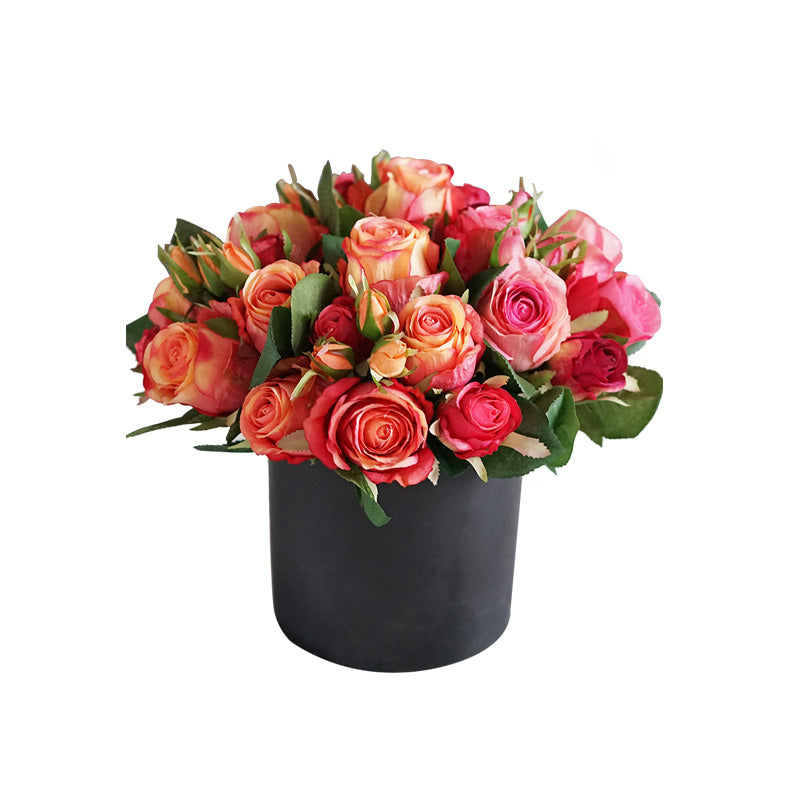 "Silk Red Roses in Black Vase 13"" Tall"