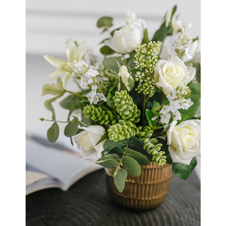 "White Rose Mixed Flower and Greenery in Gold Metal Flower Pot 12"" Tall"