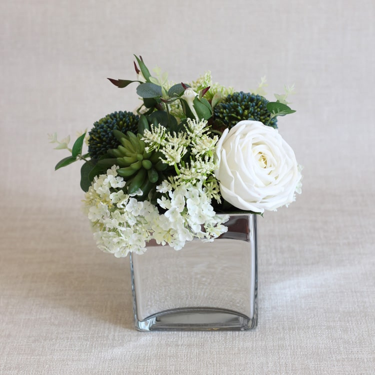 "White Blue in Green Flower Arrangement in Glass Vase 9"" Tall"
