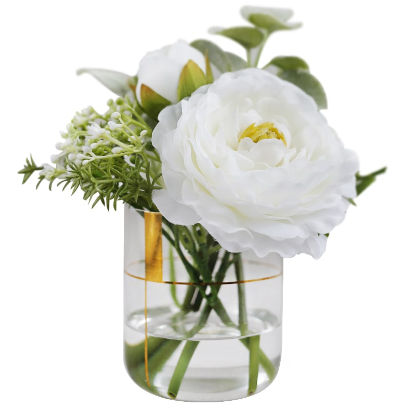 "Silk White Lian Flower with Greenery in Faux Water Glass 7.1"" Tall"