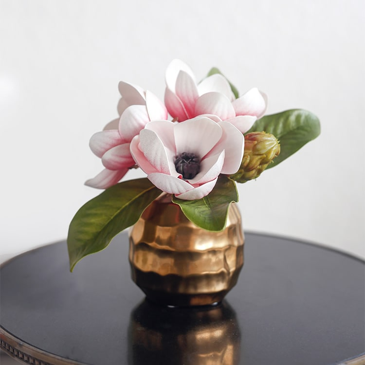 "Artificial Magnolia Flower in Ceramic Gold Vase 8.6"" Tall"