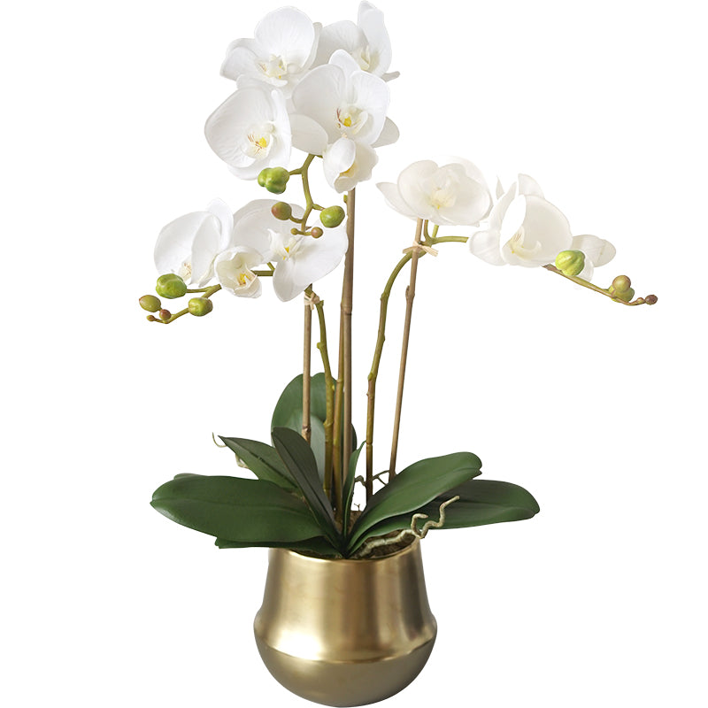 "Real Touch Orchid Arrangement in Gold Metal Vase 26"" Tall"