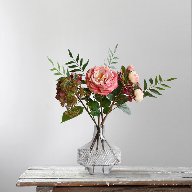 Real Touch Rose Eucalyptus in Glass Vase Set