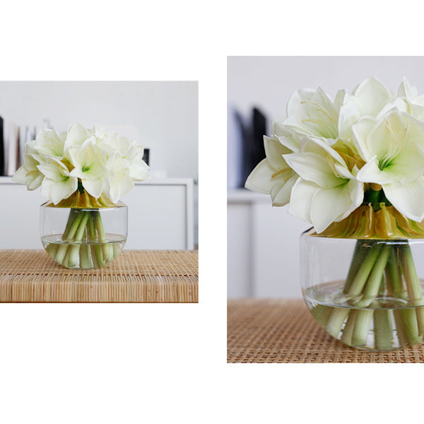 "White Lily Flowers in Gold Glass Vase 12"" Tall"